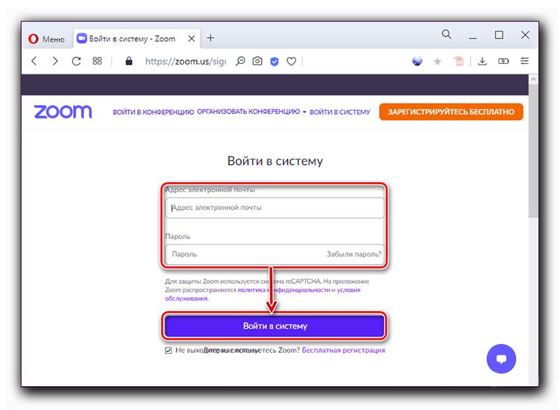 Вход в систему на сайте Zoom