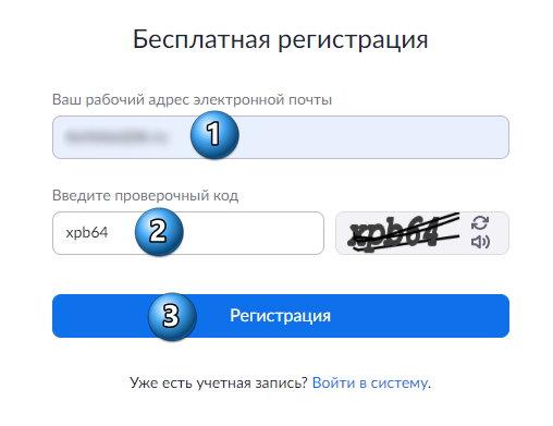 введение почты и капчи в регистрации zoom