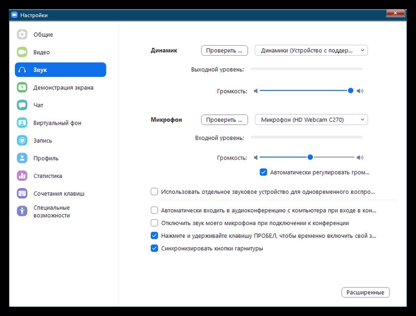 Настройки звука в Zoom для Windows 7