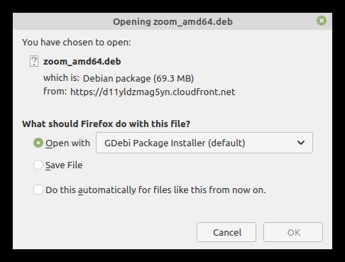 Открытие файла Zoom распаковщиком Gdebi для Linux