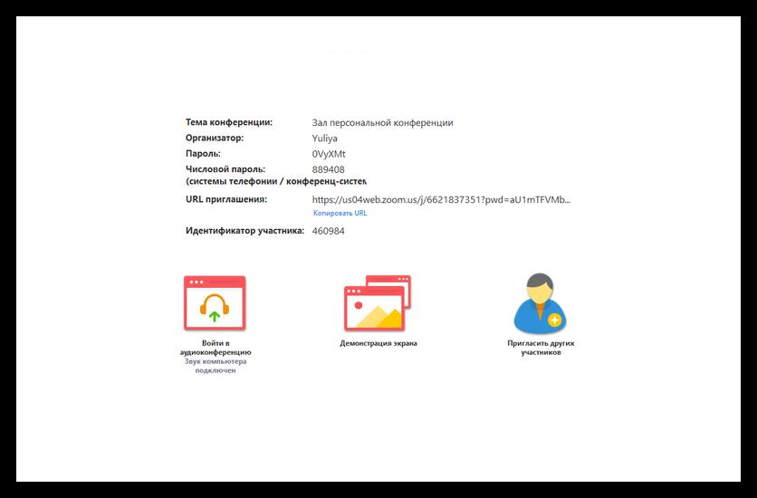 Подробности конференции в Zoom для Windows 7