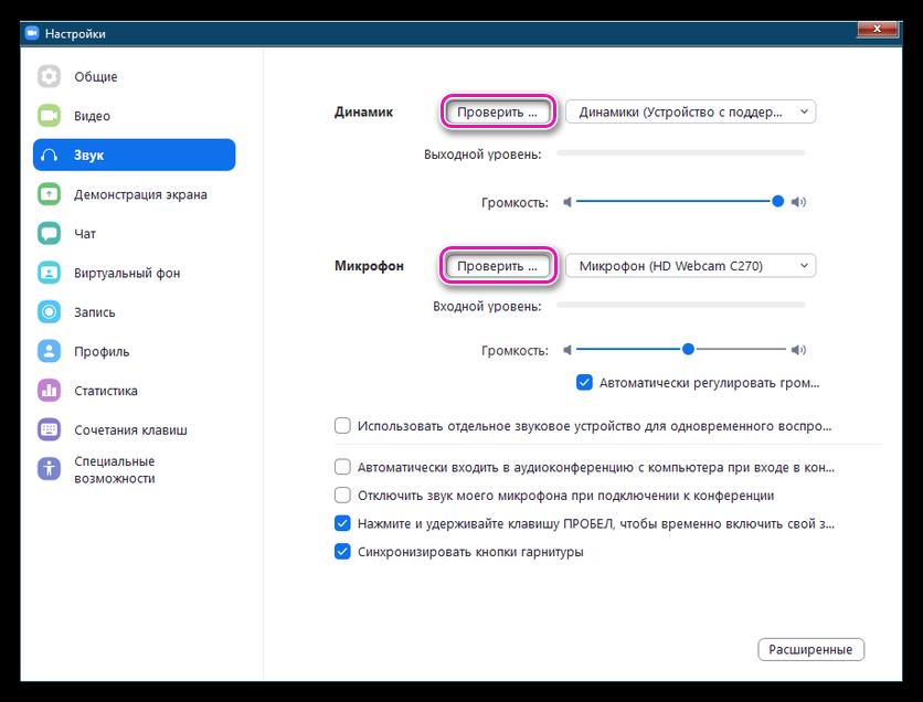 Проверка динамиков и микрофона в Zoom для Windows 7