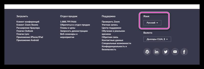 Смена языка официального сайта Зум