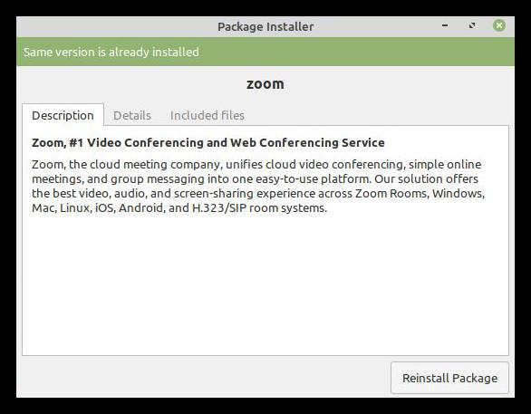 Успешная инсталляция пакета Zoom для Linux