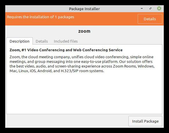 Установка пакета Zoom для Linux