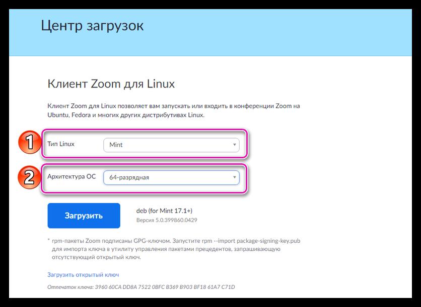 Выбор версии Zoom для Linux